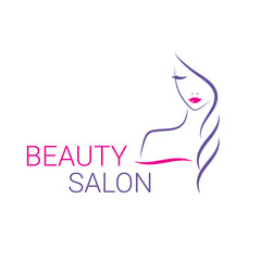 Fototapeta Beautiful woman vector logo template for hair salon, beauty salon, cosmetic procedures, spa center.
