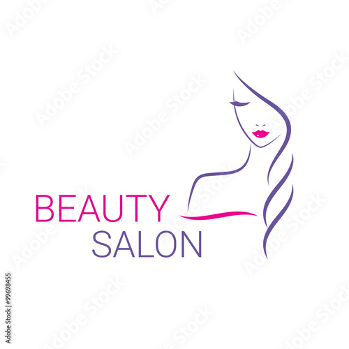 Beautiful woman vector logo template for hair salon, beauty salon, cosmetic procedures, spa center. - 99698455