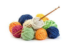 Colorful Balls Of Yarn And Woo...