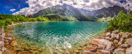 Photo Stands Salmon Panorama of lake in the Tatra mountains at sunrise