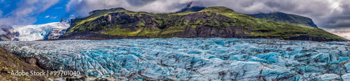Glaciers Panorama of stunning Vatnajokull glacier and mountains in Iceland