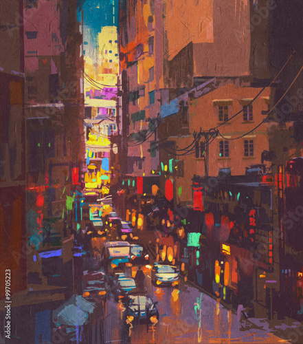 Staande foto New York TAXI The city lights,evening traffic.digital painting