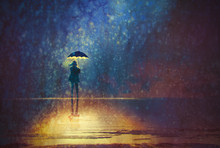 Lonely Woman Under Umbrella Lights In The Dark,digital Painting