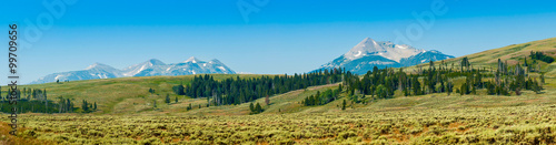 Aluminium Prints Blue Yellowstone Panorama 2
