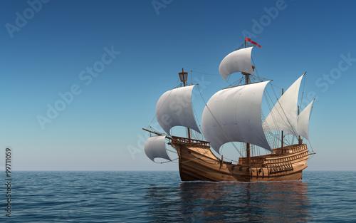 In de dag Schip Caravel In The Blue Sea