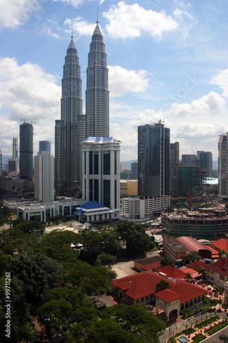 Photo Stands Kuala Lumpur Petronas Twin Towers at Kuala Lumpur, Malaysia. ..
