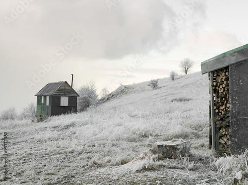 Staande foto Thee Winter house on a hill, winter landscape
