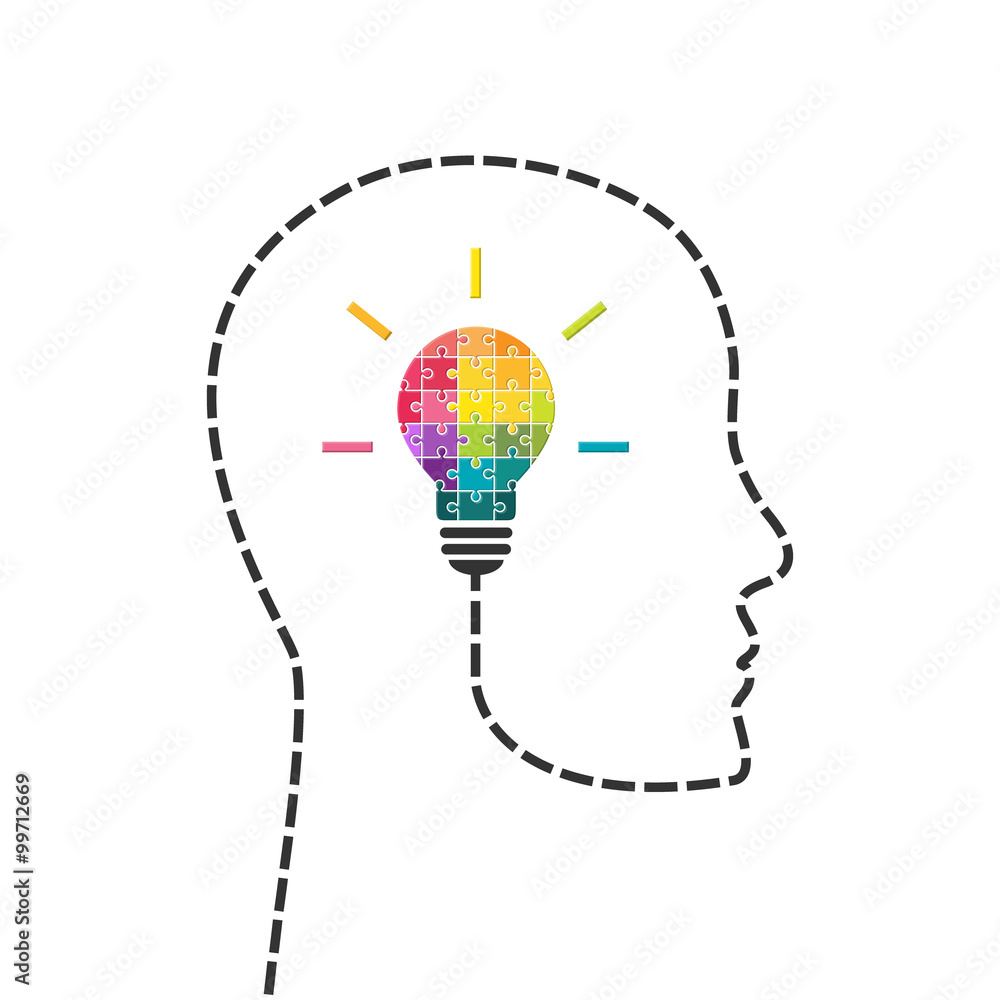 Fototapeta Creativity and innovation concept. Human head line with light bulb made of puzzle.