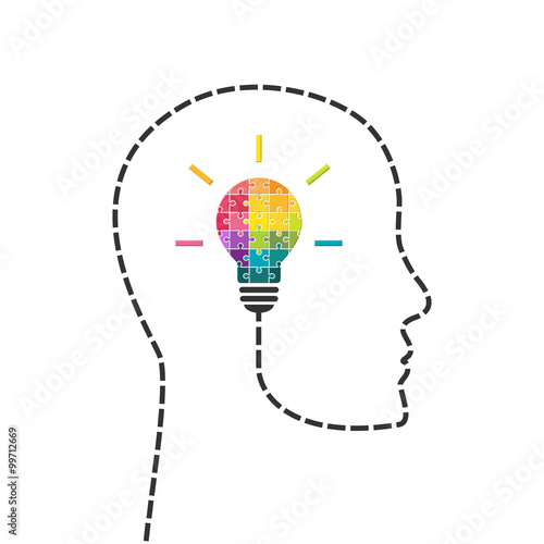 Fototapeta Creativity and innovation concept. Human head line with light bulb made of puzzle. obraz