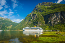 Large White Ship In Geiranger,...