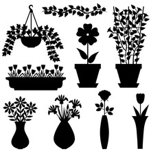Silhouettes Set Of Flowers In ...