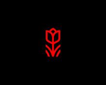 Abstract Flower Book Logo Icon Vector Design. Elegant Tulip Premium Symbol.