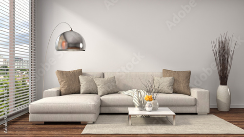 Fotografie, Obraz  interior with sofa. 3d illustration