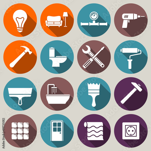 Set Of House Renovation Icons Tools Furniture And Equipment For Home Remodeling Flat Style Icons With Long Shadow Buy This Stock Vector And Explore Similar Vectors At Adobe Stock Adobe Stock