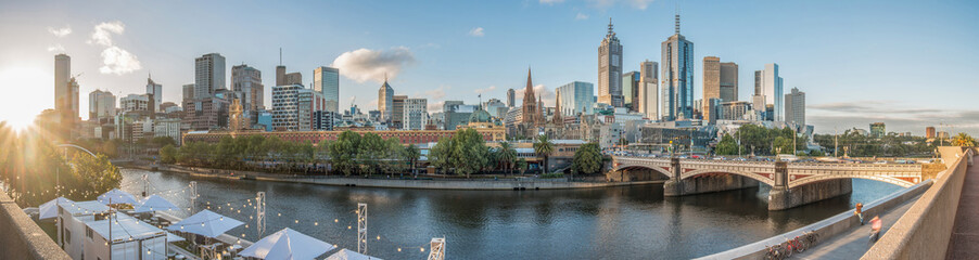 Panel Szklany Melbourne cityscape with panorama view, Melbourne, Australia.