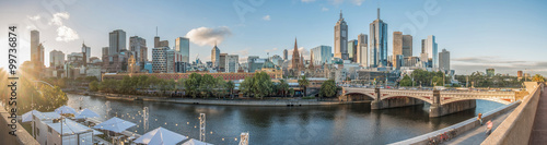 Spoed Foto op Canvas Cappuccino Melbourne cityscape with panorama view, Melbourne, Australia.