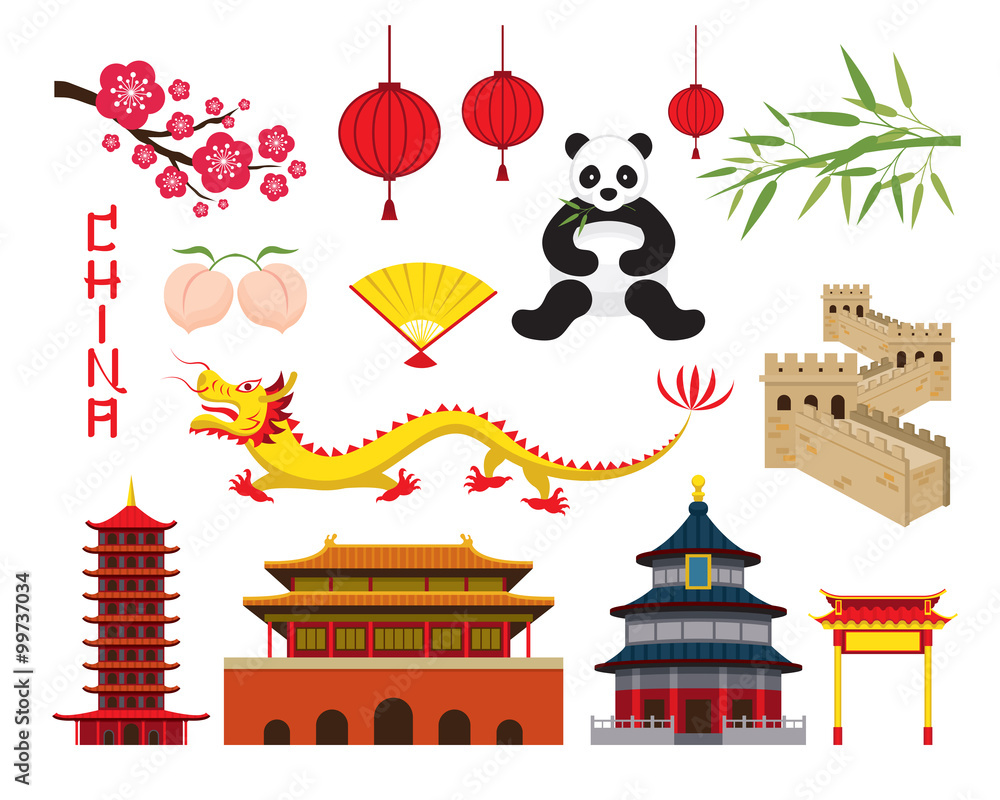 Fototapeta China Objects Set, Travel Attraction, History, Traditional Culture