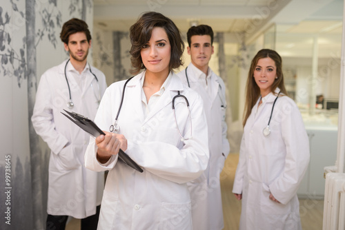 plakat Group of medical workers portrait in hospital