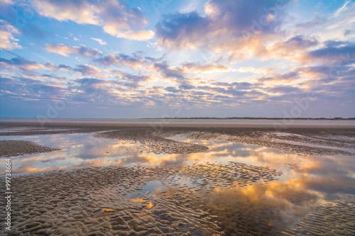 In de dag Noordzee Morgendämmerung am Strand von St. Peter Ording