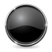 Shiny Glass Button. Chrome Frame. Circle Black Button.