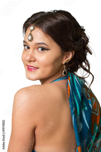 Model in the Indian dress on a white background Canvas Print