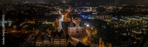 Fototapeta Panorama mit Lübecker Holstentor obraz na płótnie