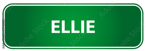Photo  Popular girl name Ellie on a green traffic sign