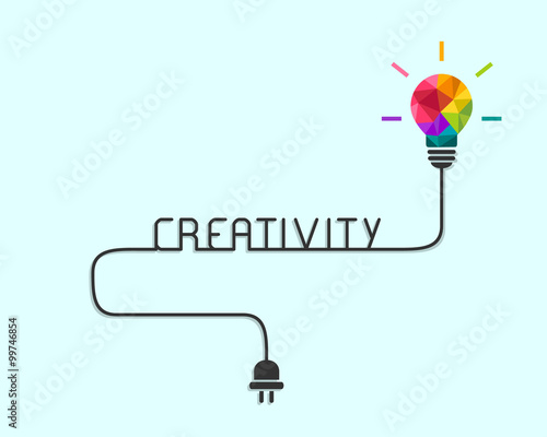 Obraz Creativity and idea concept with colorful polygonal lightbulb and wire - fototapety do salonu