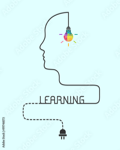 Fotografía  Creative learning concept with lightbulb made of puzzle and human profile line