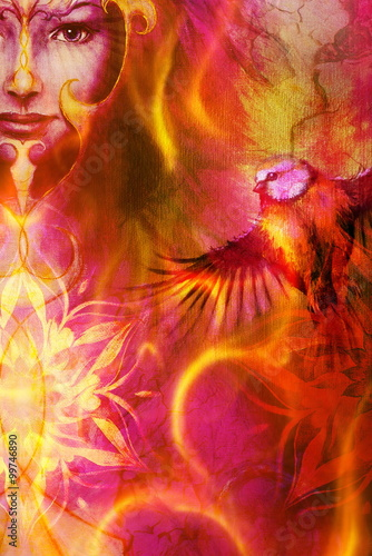 Fotomurales - beautiful illustration women and mandala in fire, with birds on multicolor background eye contact.