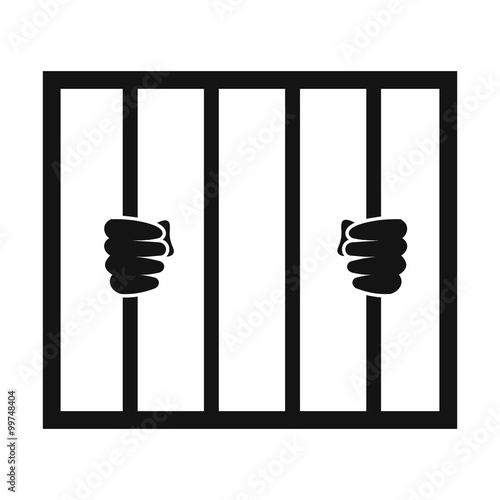 Photo Hands holding prison bars icon
