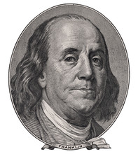 Benjamin Franklin Face On Us One Hundred Dollar Bill Macro Isolated, United States Money Closeup
