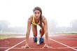 Leinwanddruck Bild - athlete on the starting blocks