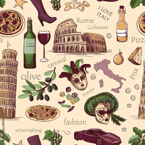 Valokuvatapetti Seamless pattern of Italy