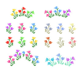 Tulips flowers illustration. Vector set. Isolated spring tulip