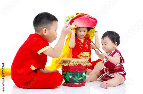 Deurstickers Regenboog Asian kids