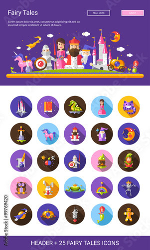 Deurstickers Pony Fairy tales flat design cartoon characters icons set with header