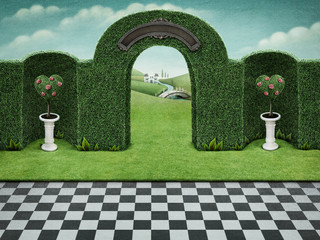 Background with arch and green hearts with roses  on pedestal