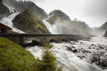 Fototapeta na wymiar Norwegian landscape, Latefossen, Waterfall