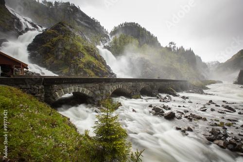 Fototapeta Norwegian landscape, Latefossen, Waterfall