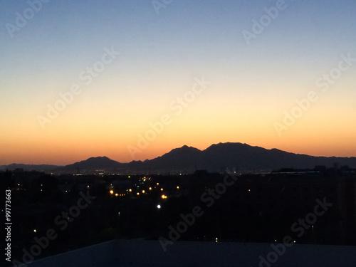 Poster Las Vegas Sonnenaufgang in Las Vegas hinter dem Sunrise Mountain