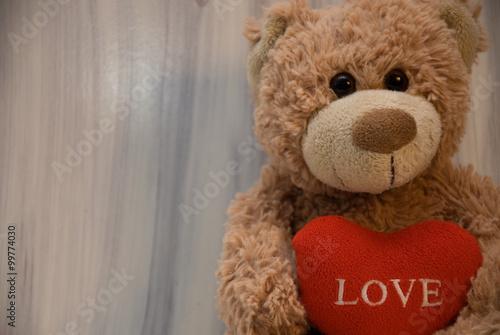Romantic teddy bear on white #99774030