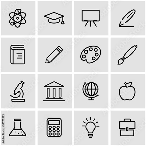 Fotografie, Obraz  Vector line education icon set