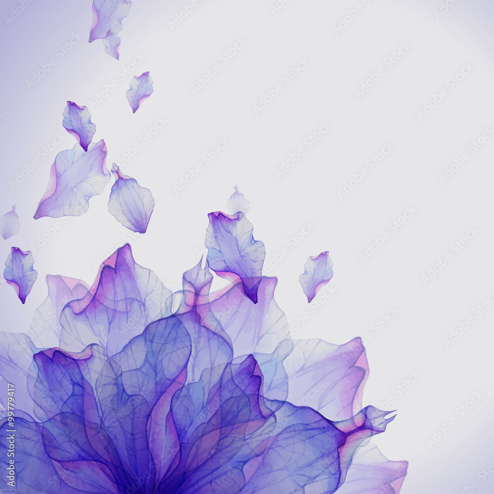 Fototapety, obrazy: Watercolor card with Purple flower petal
