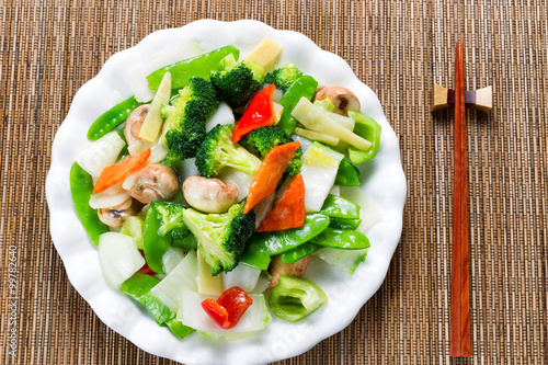 Photo  Healthy steamed mixed vegetables ready to eat