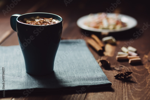 Spoed Foto op Canvas Chocolade Cup of coffee for breakfast, copy space