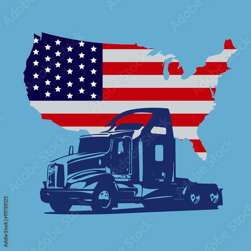 Zdjęcie XXL semi truck, map of USA, icon, vector illustration