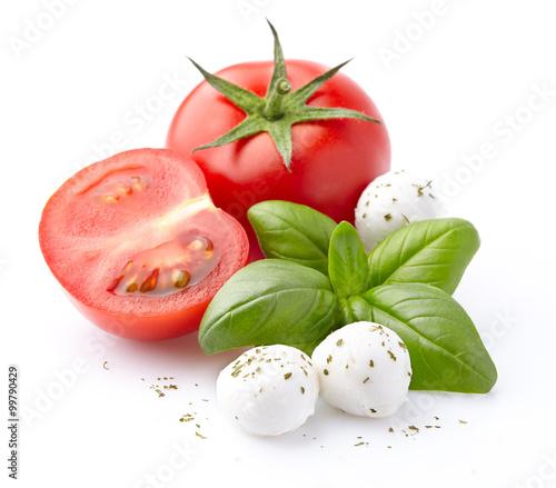 Fotografía  Mozzarella, tomatoes, basil spice