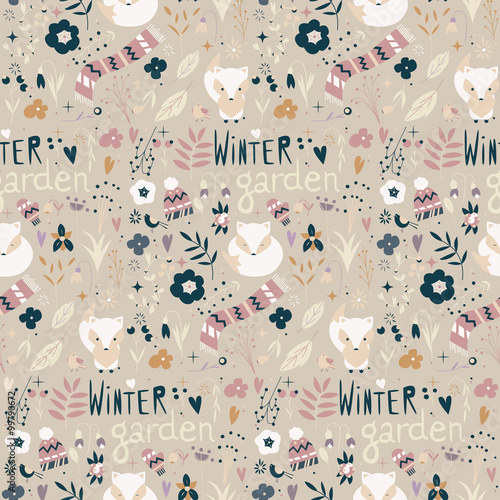 Cotton fabric Seamless pattern with winter garden flowers, foxes and scarf, ha