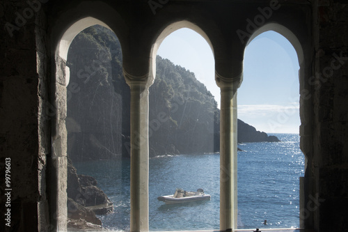 Tuinposter Liguria paesaggio san fruttuoso liguria